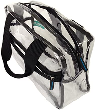 Clear Handbag with Top Zipper and Top Handle
