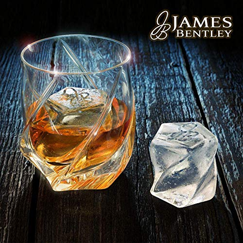 James Bentley VRIDE Scotch Glasses,Diamond Whiskey Glass,Bourbon Glasses Set+FREE Ice Cube Trays Silicone Heavy Unique Rocks Glass Luxury Hand Made bar glasses Perfect cocktail glasses for men gifts