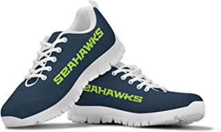Seattle Seahawks Themed Casual Athletic Running Shoe Mens Womens Kids Sizes 12th Man Football Apparel and Gifts for Men Women Children