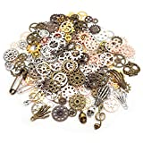 Jucoan 350 Gram Antique Metal Steampunk Charms, Approx 240 PCS Assorted Color Sizes Watch Gear Cog Wheel Pendants, Skull, Musical Note and Safety Pin Charms for Necklace Bracelet Jewelry Making