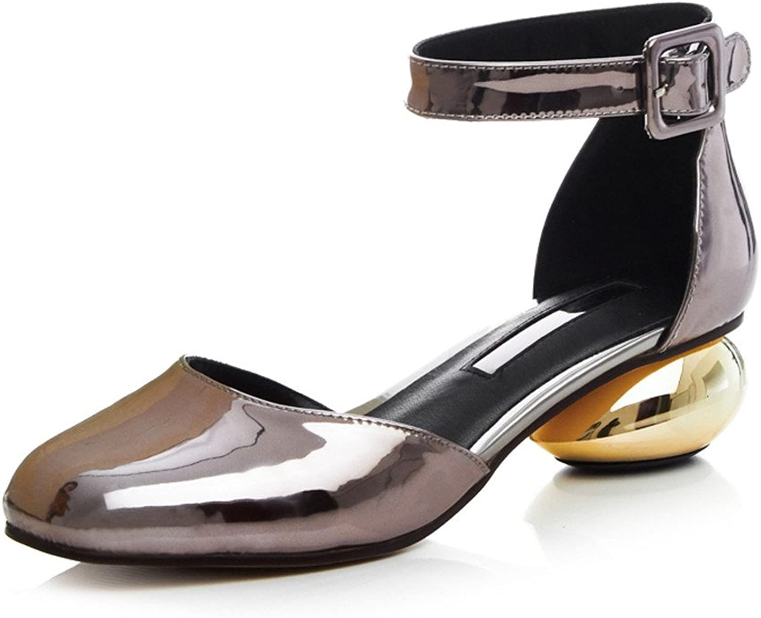 MINIVOG Women's French Heel Ankle Strap Square Sandal shoes