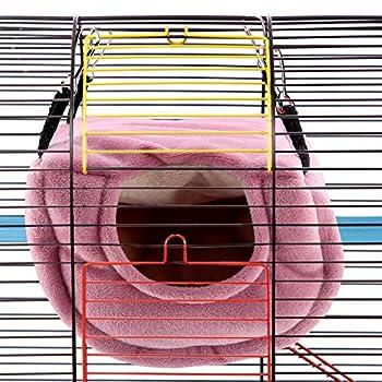 Petyoung Hamac Suspendu de Maison de Nid Doiseaux Chauds Dhiver Grotte de Lit de Balançoire en Peluche de Nid de Perroquet Coupe-Vent pour Cacatoès Perruches Perruches Perruches