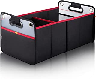 Car Trunk Organizer, Collapsible Auto Trunk Organizer Storage, Portable Grocery Cargo Container with Two Large Compartments for SUV, Vehicle, Truck, Home and Office