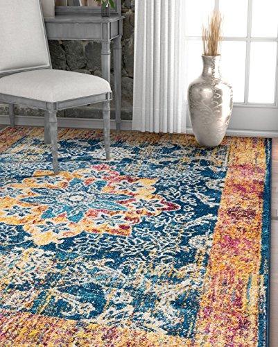 "Well Woven Cora Floral Medallion Vintage Blue Area Rug 3x5 (3'3"" x 4'7"") Soft Plush Modern Oriental Carpet"