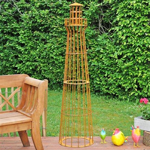VOSS.garden Leuchtturm 1,80m hoch, Gambione, Garten-Dekoration, Rost-Design, Edelrost, Metalldeko