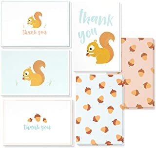 Thank You Cards Bulk - 48-Pack Thank You Cards, 6 Colorful Squirrel and Acorn Designs, Thank You Notes, Envelopes Included, 4 x 6 Inches
