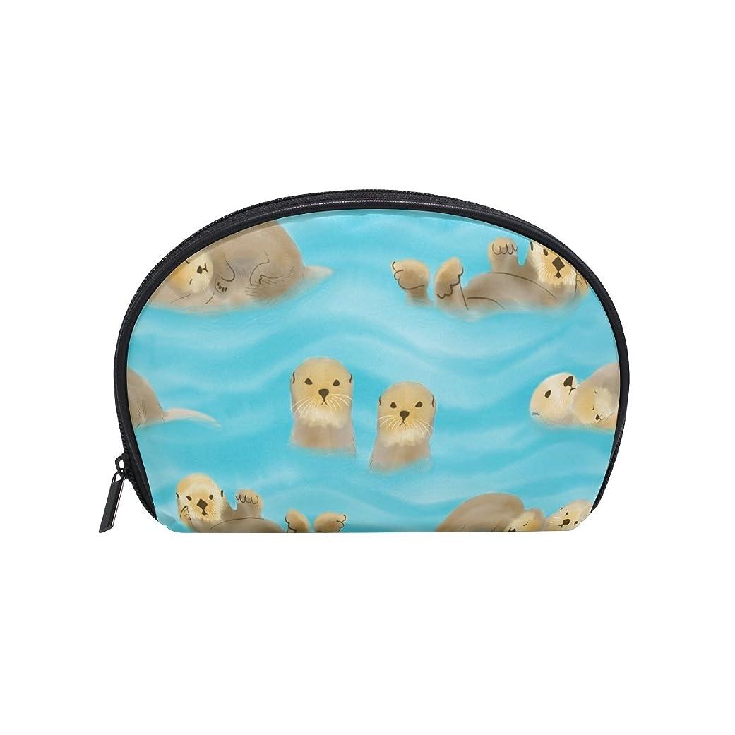 上下するカバーの前でALAZA ラッコ 半月 化粧品 メイク トイレタリーバッグ ポーチ 旅行ハンディ財布オーガナイザーバッグ