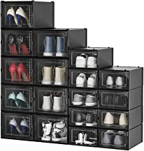 Pellebant 18 Pack Stackable Shoe Storage Boxes, 9 Medium Size and 9 X-Large Size, Foldable Plastic Shoe Organizer for Clos...