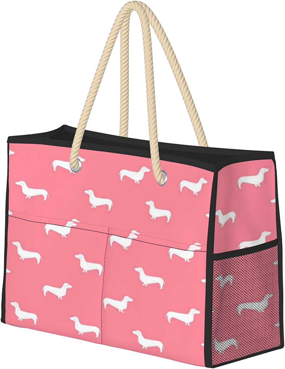 Flamingo Pink Dachshund Oklahoma City Mall Women Beach Tote With Year-end annual account T Large Zipper Bag