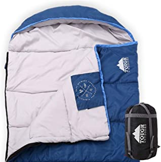 All Season XL Sleeping Bag for Big and Tall Adults - Ideal for Warm/Cold Weather Camping and Hiking - Wide, Oversized & Waterproof Hooded Sleeping Bag with Free Compression Sack