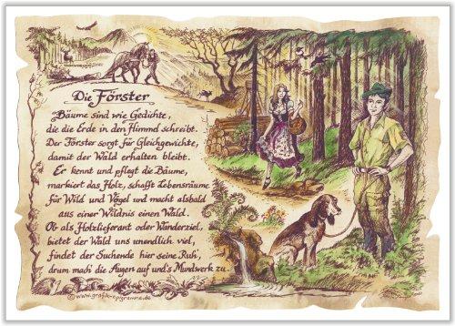 Gedicht Förster Jäger Zeichnung Color 30 x 21 cm