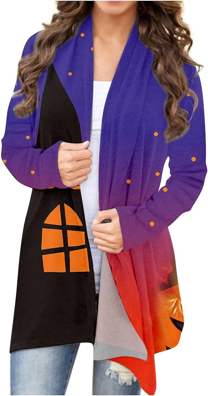 Women Halloween Cute Pumpkin Black Cat Print Graphic Open Front Cardigan Long Sleeves Shrugs Funny Blouse Lightweight Coats