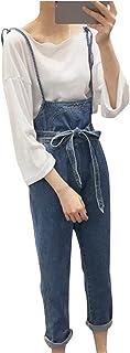 YINUO レディース サロペット デニム パンツ ジーンズ ゆったり 大きいサイズ おしゃれ 古着 かわいい オーバーオール