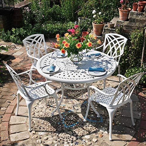 Lazy Susan - Alice 120 cm Runder Gartentisch mit 4 Stühlen - Gartenmöbel Set aus Metall, Weiß (April Stühle)