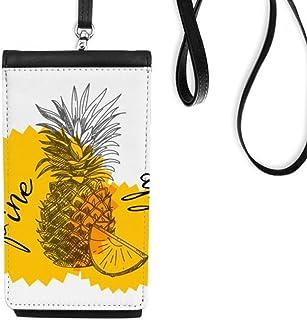 DIYthinkerYellow Pineapple Drawing Fruit Phone Wallet Purse Hanging Mobile Pouch Black Pocket