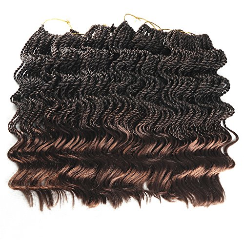 14 inch 6 Packs Senegal Wavy Twist Crocht Hair Kanekalon Synthetic Fiber Braiding Hair Ends Free Havana Manbo Twist Crochet Hair Dreadlock Long Hair (14 inch, T1B/30)