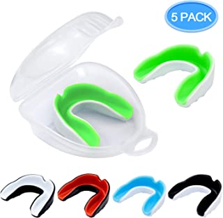 MENOLY 5 Pack Youth Mouth Guard Sports Mouth Guard for Kids Double Colored Kids Gum Shield for Football Basketball Boxing MMA Hockey with Free Case