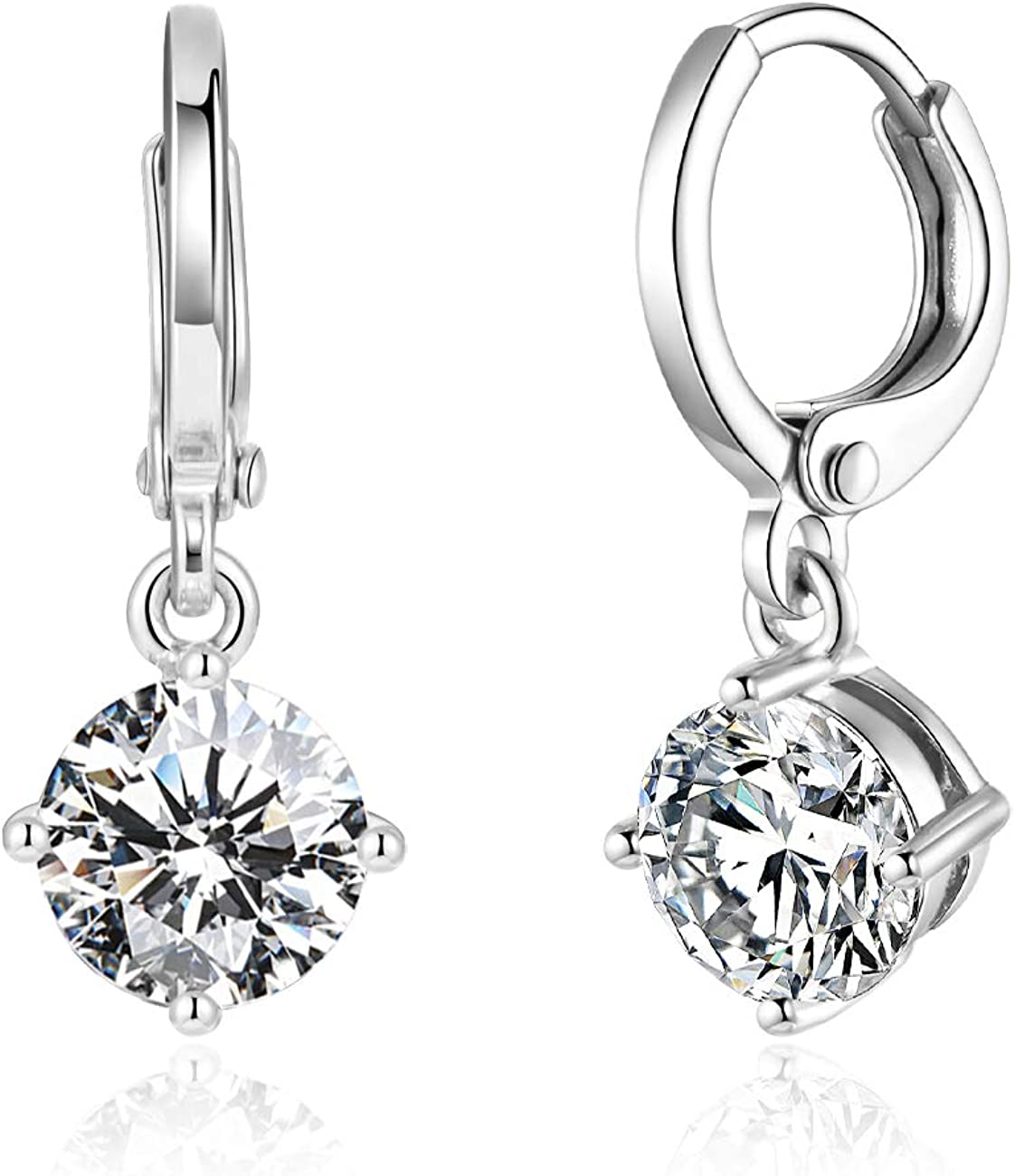Drop Dangle Earrings Leverback 7MM 1.25ct CZ Cubic Zirconia design 18K White Gold Plated With Small Hypoallergenic Hoops Gorgeous Gift for Women and Girls