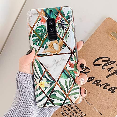 Uposao Kompatibel mit Samsung Galaxy S9 Plus Marmor Hülle Case Glitzer Marmor Blumen Muster Weiche TPU Silikon Ultra Dünn Hülle Schutzhülle Kratzfest TPU Bumper Handytasche Case Cover,Grün