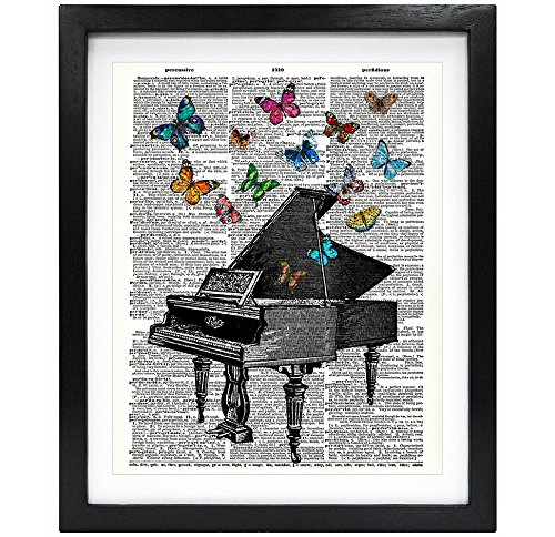 Susie Arts 8X10 Unframed Butterflies Over Piano Upcycled Vintage Dictionary Art Print Book Art Print...