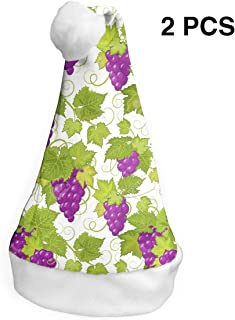 Santa Claus Hat Grapes Purple Merry Christmas Hats Adults Children Costume Xmas Decor Party Supplies (2-Pack)