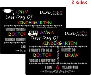 14 x 10 inch First and Last Day of School Photo Sharing Chalkboard Signs Wooden Large Size Photo Prop Back to School Signs for Kids Reusable and Easy Clean