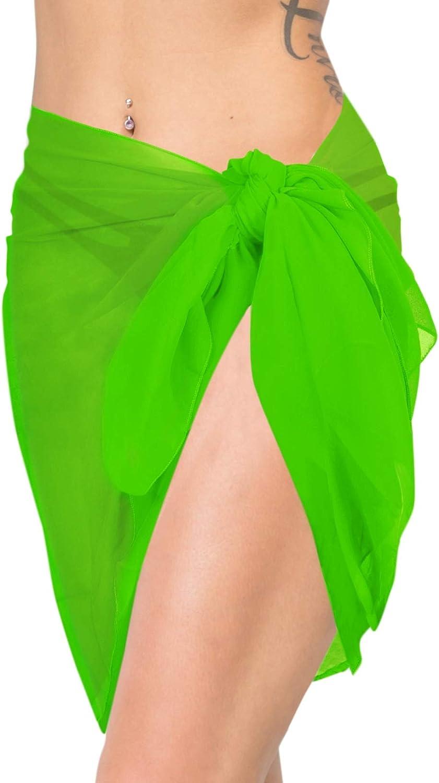 LA LEELA Shawls Scarves Scarf Women Plus Size Swimwear Pareo Sarong Bikini Coverups Tie Solid Plain A