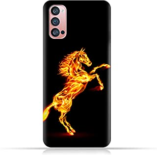 AMC Design TPU Mobile Case Cover for Oppo Reno4 Pro 5G with Horse on Flame Pattern