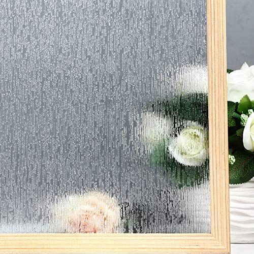 VELIMAX Rain Glass Window Film Privacy Static Window Clings Decorative Glass Sticker for Home Office Removable UV Protection Heat Control 17.7 x 78.7 inches