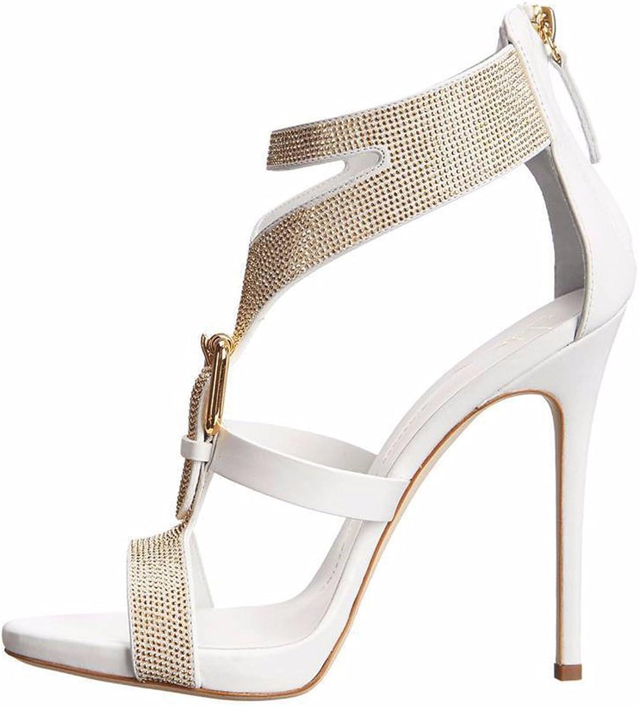 AIWEIYi Womens Rhinestone Stilettos High Heel Strappy Sandals Black