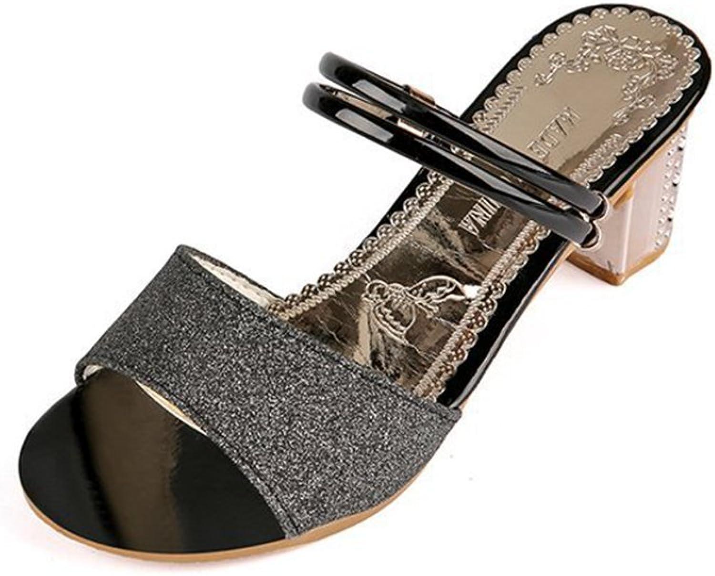 Women's Fashion Sequins Open Toe Slide Sandals Breathable Crude Heel Slip On Dress shoes