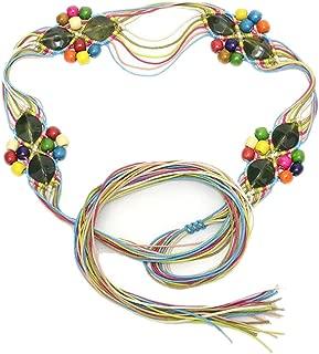 Handmade wax rope woven waist chain Women's new national wind belt (Color : 02)