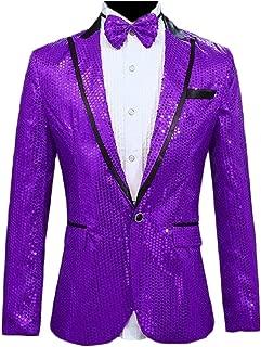 Sodossny-AU Men's Shiny Sequins Suit Jacket Blazer One Button Jacket