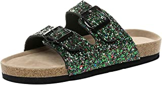 Comfort Slide Sandals for Women!melupa Ladies Cross Toe Double Buckle Strap Cork Sequined beach shoes Flat Sandals
