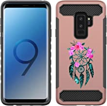 [NickyPrints] Galaxy S9 Plus  Hybrid Case- Dream Catcher Design Printed with Embossed Effect - Unique Dual Layer Full Protection Shockproof Galaxy S9 Plus Rose Gold Case / Cover