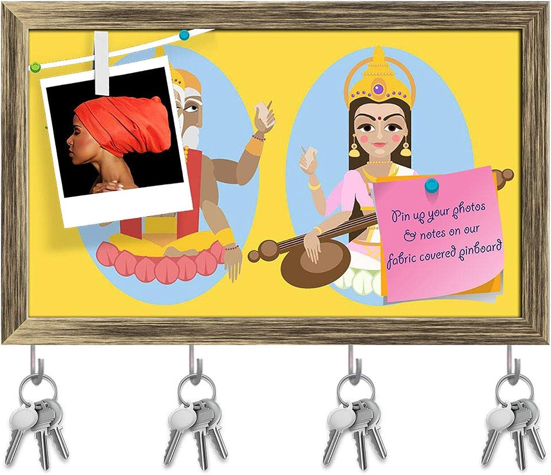Artzfolio Brahma & Sarasvati Devi Key Holder Hooks   Notice Pin Board   Antique golden Frame 19.8 X 12Inch