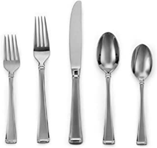 Gorham Column Frosted Stainless Flatware 5-Piece Place Setting, Service for 1, Silver -