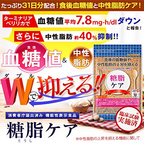 糖脂ケア[血糖値サプリメント/DMJえがお生活]ターミナリアアベリリカサプリメント血糖値を下げる中性脂肪を下げる(機能性表示食品)日本製31日分
