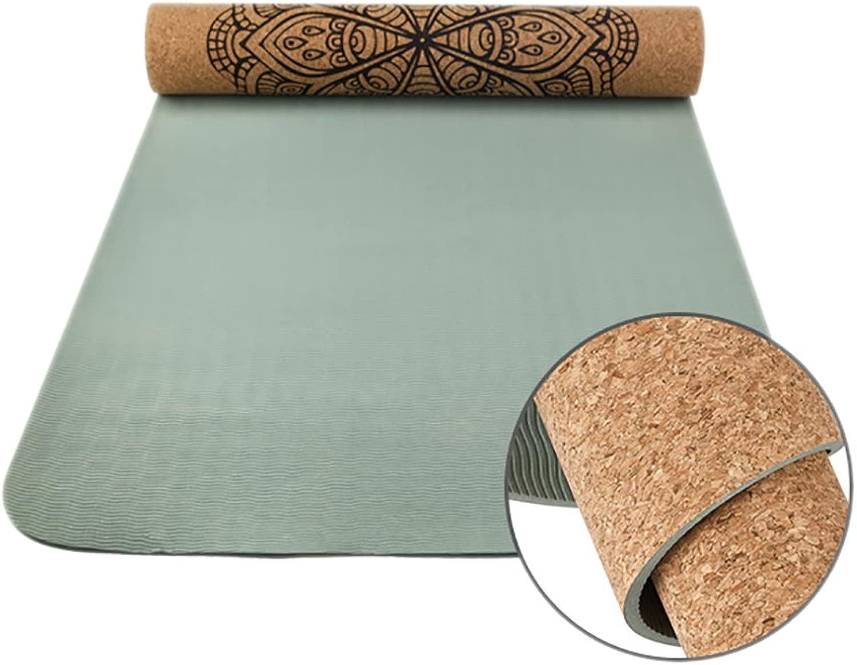 Xink-yoga Yogamatte 6mm Verdicken Erweitern Hohe Dichte Kork Slip Mat (Holz 183 cm X 63 cm)