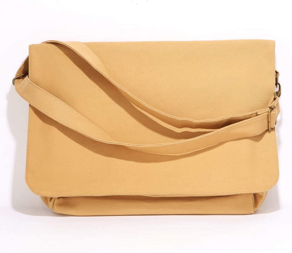 Augbunny Heavy Duty 100/% Cotton Canvas Messenger Bag Shoulder Crossbody Sling Bag Adjustable Strap Multi Purpose Daily Use Casual Handbags Satchel Purse With Flap.