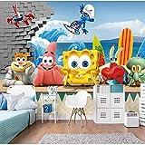 Hintergrund Tapete SpongeBob 3D Kinderzimmer Wandbild Wohnzimmer Schlafzimmer Kindergarten Früherziehung Center Hintergrund wallWallpaper 3D Fototap Wandbild Tapete Fototapete Wandbilder-250cm×170cm