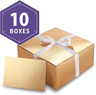 PACKHOME Gold Gift Boxes 8x8x4 Inches, Bridesmaid Boxes, Paper Gift Boxes with Lids for Gifts, Crafting, Cupcake Boxes, with Greeting Cards and Satin Ribbons (Glossy with Embossing, 10 PCS)