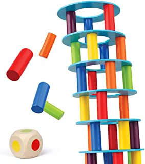 Coogam Wooden Leaning Tower Game - Tumbling Block Toppling Timber Stacking Tower Toy Games Montessori Gift for Kid and Adult