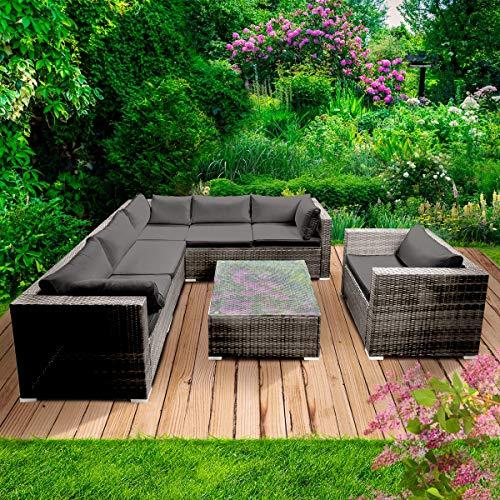 BRAST Poly-Rattan Gartenmöbel Lounge Set 15 Modelle 3 Farben 4-12 Personen Sitzgruppe Harmony Grau