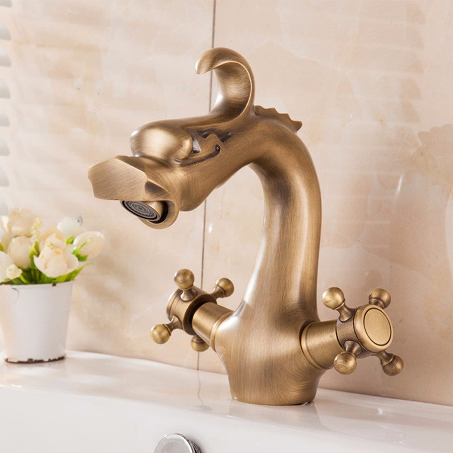 Hlluya Professional Sink Mixer Tap Kitchen Faucet Copper basin bathrooms, hot and cold, Single Hole, sink Faucet 12