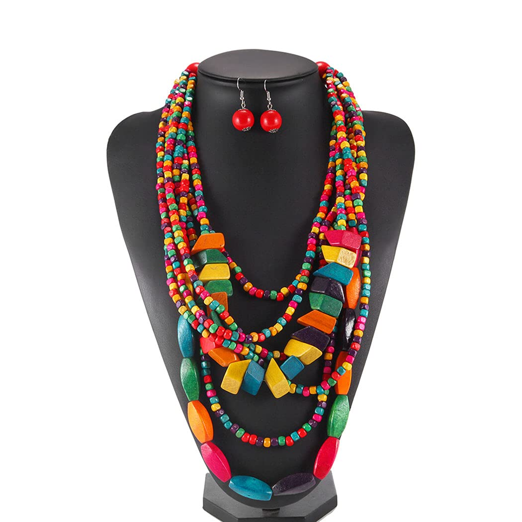 Barode Statement Layered Necklace Multicolor Wood Bead Chunky Beaded Bib Necklaces with Earings Long Multi Strand African Necklace Costume Jewelry for Women (Style 1)