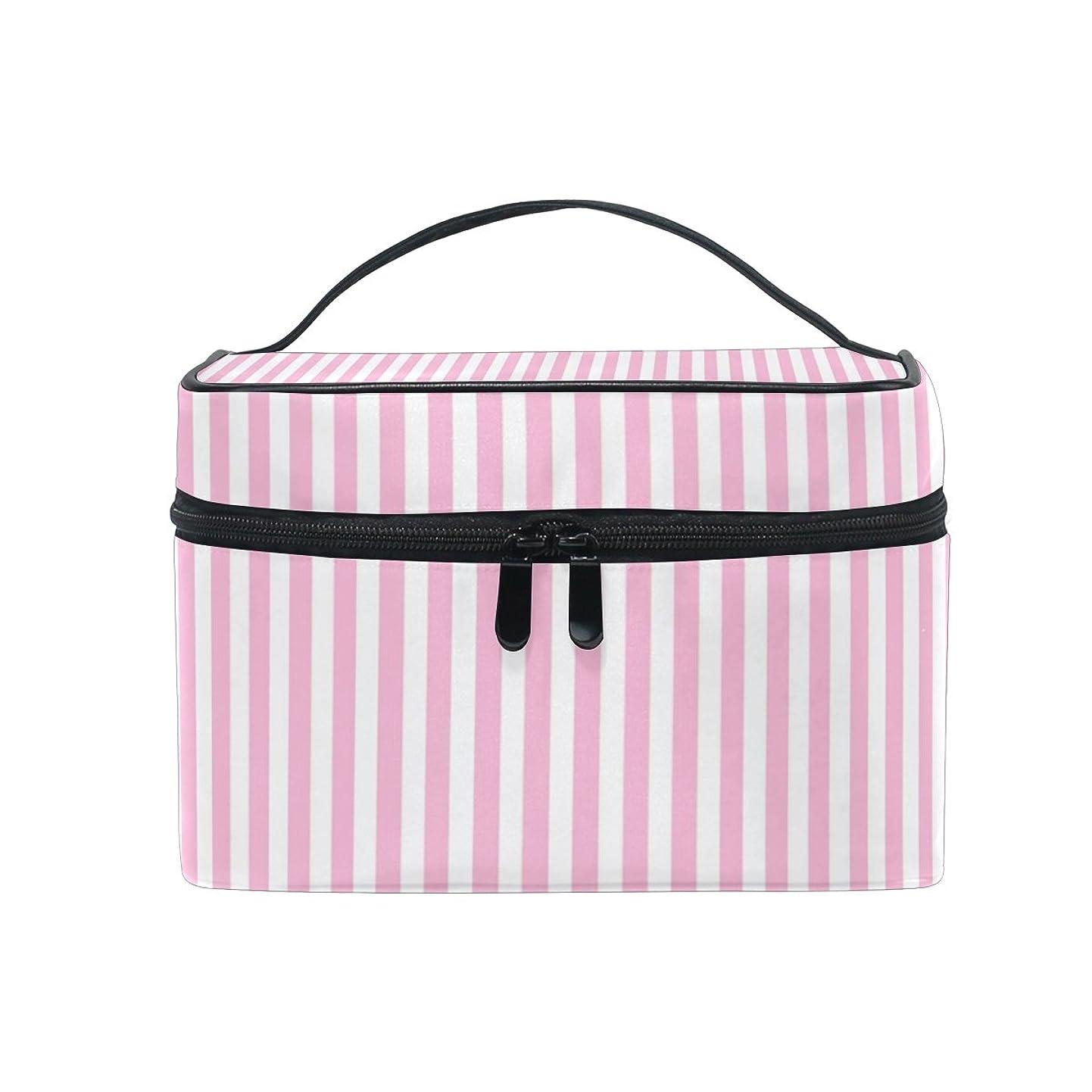 クルー十代の若者たち案件ALAZA 化粧ポーチ ストライプ柄 縞模様 化粧 メイクボックス 収納用品 ピンク 大きめ かわいい
