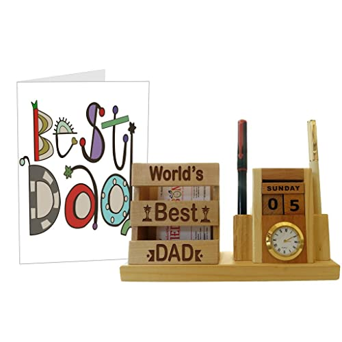 Tied Ribbons Gifts For Father Birthday From Daughter Wooden Pen Stand With Greeting Card Multicolour