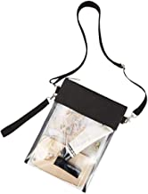 Greenpine Clear Cross-body Purse Bag-Clear Stadium Bag Approved for NFL, BTS Concert, NCAA, Casino, Clear Purse with Adjustable Strap (Black)