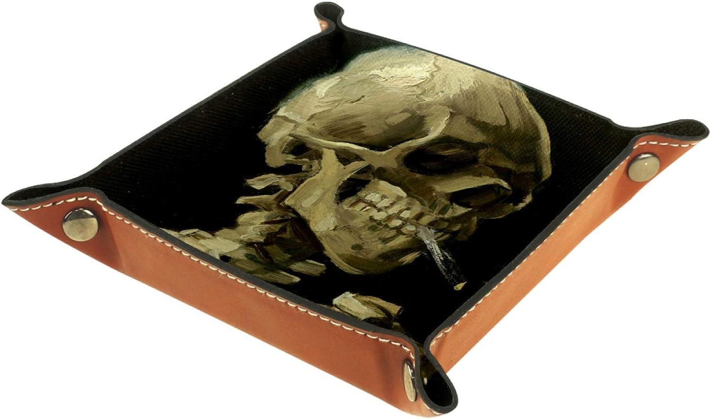 YATELI Caja de Almacenamiento peque/ña Bandeja de Valet para Hombre,cr/áneo fumando,Organizador de Cuero para Llaves de Caja de Monedas